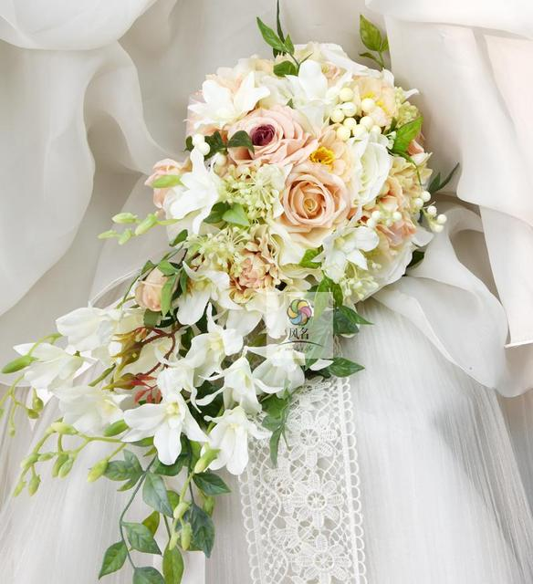 1b9fa667e0763 US $59.34 14% OFF|Waterfall Style Handmade Wedding Bridal Bouquet Orchid  Rose Artificial Flowers Bride Wedding Holding Flower Bridesmaid Bouquets-in  ...