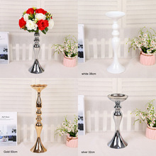 3 Colors Metal Candle Holder, Vases Centerpiece Stands