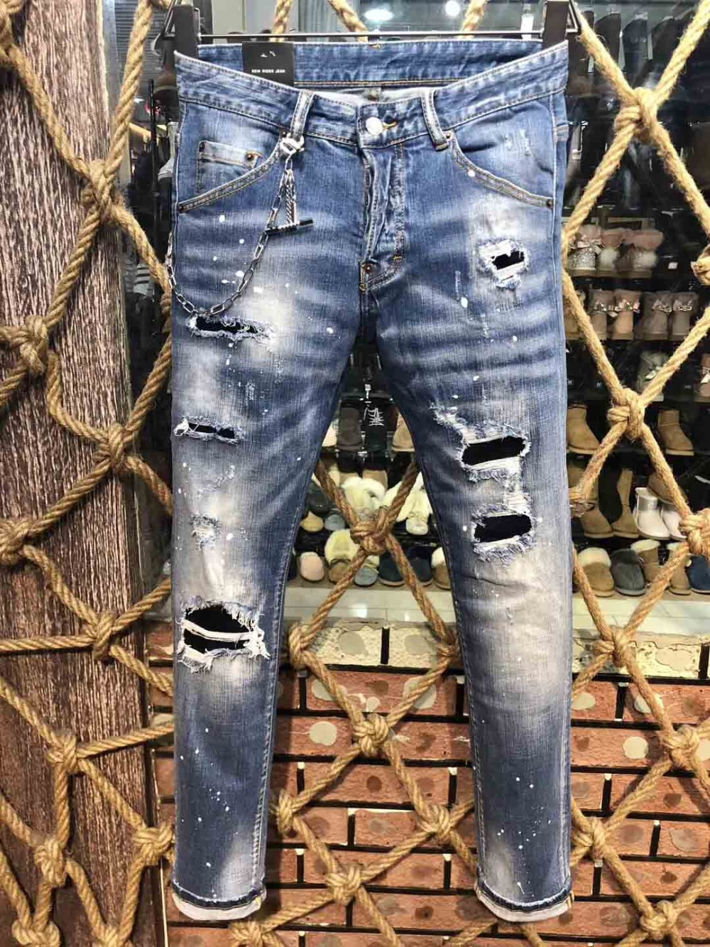 2019high quality New mens biker denim ripped destroyed skinny distressed italian brand tor