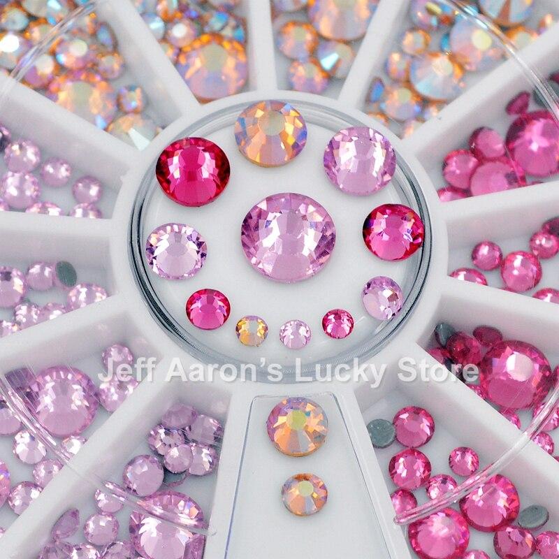 Mixed Desgins Pink 3d Nail Art Decorations Rhinestones Hot