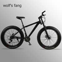Lobo fang mountain bike bicicleta gordura 21 velocidade quadro da liga de alumínio 26 polegada mtb estrada praia neve bicicletas homem bmx frete grátis