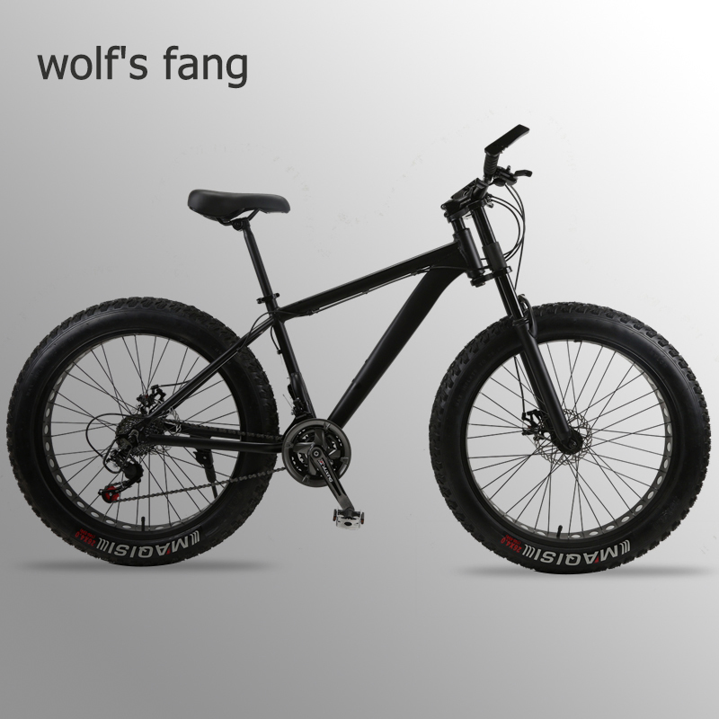 wolf's fang Mountain Bike bicycle fat bike 21 speed Aluminum alloy frame <font><b>26</b></font> inch mtb road beach Snow bikes Man <font><b>bmx</b></font> Free shipping image
