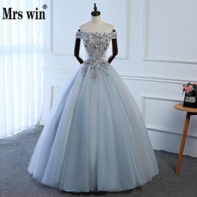 ff99ab5caa9f Luxury Grey Off Shoulder Tulle Quinceanera Dresses Bridal Princess Ball Gown  Prom Womens Formal Vestidos De Festa