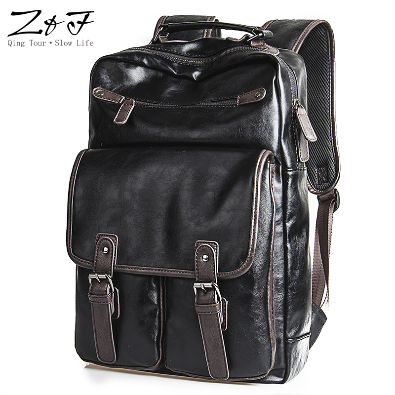 ZEROFRONT Men's Backpack PU Leather Male Functional bags Men Waterproof backpack Large Capacity Men Bag School Bags For Teenager zebella travel high quality pu leather men backpack big capacity waterproof functional male backpacks school teenager men bags