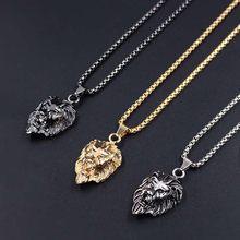 58faebd2e5c7 Hiphop Rock Animal Acero inoxidable León cabeza oro plata Color negro  cadena collares colgante para hombres joyería de moda XLCT.