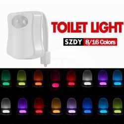 УФ-стерилизатор туалетный Ночной свет 8/16 цвета умный PIR датчик движения светодиодный унитаз свет водостойкая подсветка для унитаза