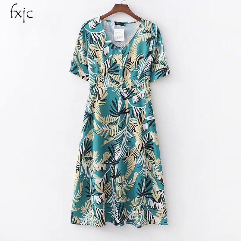 Knowledgeable Womens Spring New Retro Coconut Tree Print Short-sleeved V-neck High Waist Dress 2019 Seaside Holiday Dress M1709 We Have Won Praise From Customers Women's Clothing