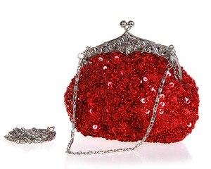 Image 4 - Granatowy damski zroszony cekinami wieczorowa torebka ślubna kopertówka wesele kosmetyczka torebka darmowa wysyłka 03162 G