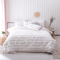 Modern Text and Leaves printed Queen King size Duvet Cover Bedding set, Printed Bed sheet,100%Cotton Ultra Soft Unique Bedding,