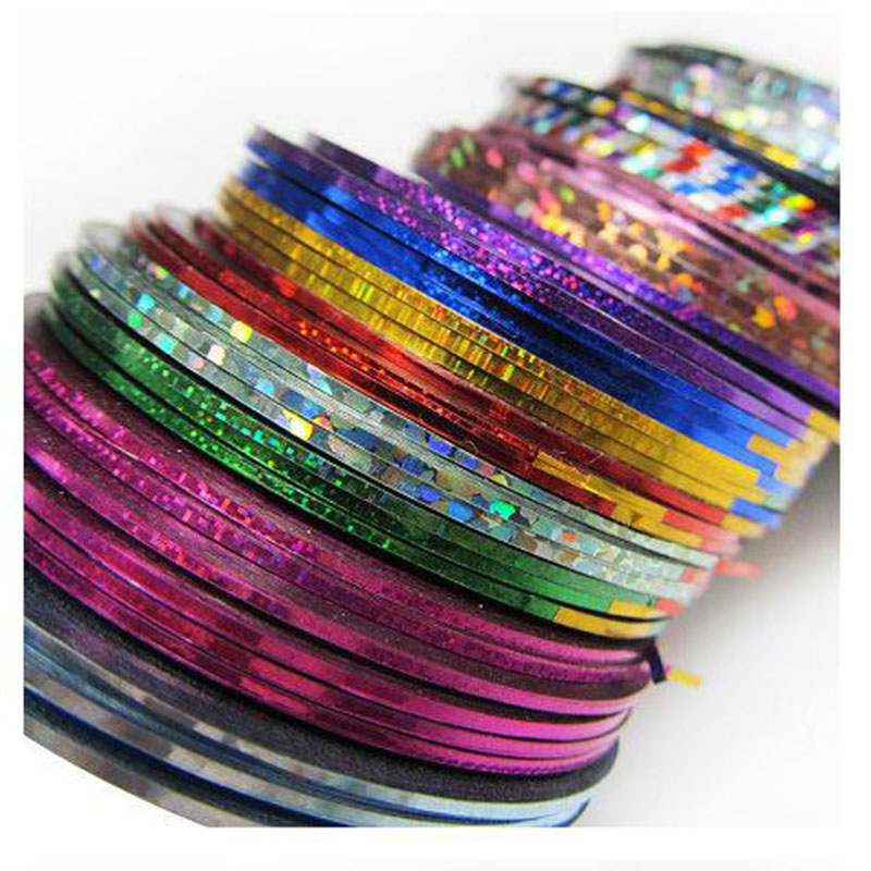 0.8-1 мм линия для ногтей наклейки 30 цвета золота и Slive линия для ногтей Книги по искусству Стикеры Инструменты Красота Аксессуары DIY Ногтей по...
