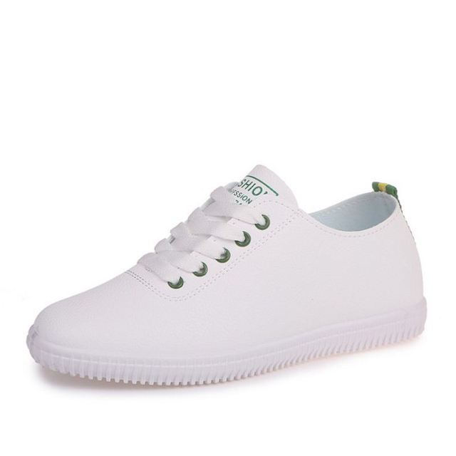 Women Sneakers White Vulcanized Shoes Lace  2