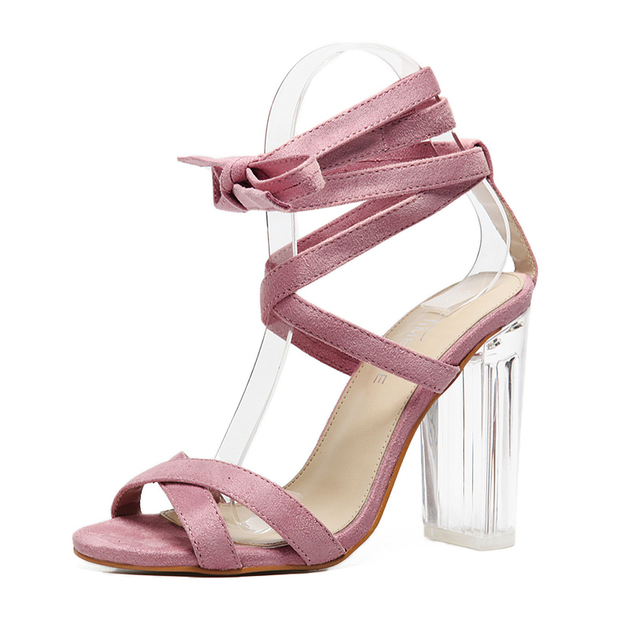 Roman Gladiator Sandals Women Perspex Heels Cross Strap Strappy ...