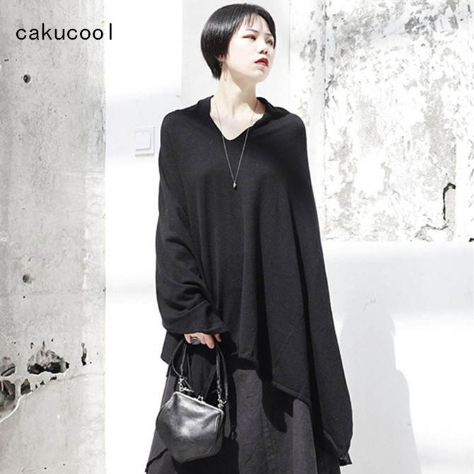 Automne Gothique Pull Nouveau Maille Femme Manteau Femmes Lâche Vêtements En Col Tricoté Jumper Noir Cakucool Cape V Chandails YOdZxdq