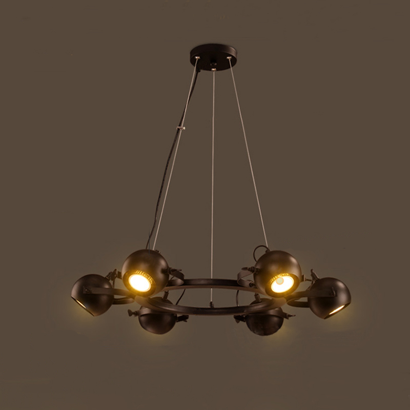 Pendant light 6/8 heads lamp G10 Socket Iron Art Spherewith wire Vintage Industal design for dining room bar hotel coffe shop