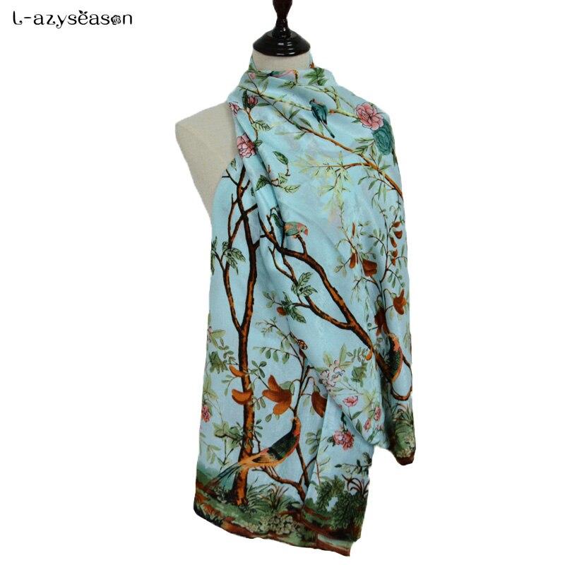 Fashion scarf luxury brand Autumn Winter women Scarves flower print Pashmina soft thin warm shawl wraps shemagh hijabs 90X180 CM