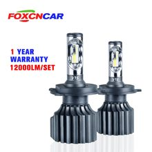 Foxcncar H7 H4 LED 6500K 3000K 8000K 4300K CSP 72W 12000LM Car Headlight H4 Hi Lo Beam H1 H3 H11 H8 9005 9006 HB3 HB4 H15 12V(China)