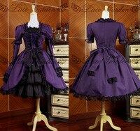 Gothic Lolita dress retro style black lace dress dark purple party cosplay princess lady vintage long sleeve dresses