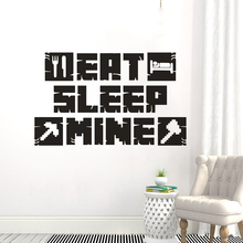 Gamer  Art Poster Stickers Eat Sleep Mine Wall Decal Kids Room Decoration Removable Games Mural Vinyl AY1846