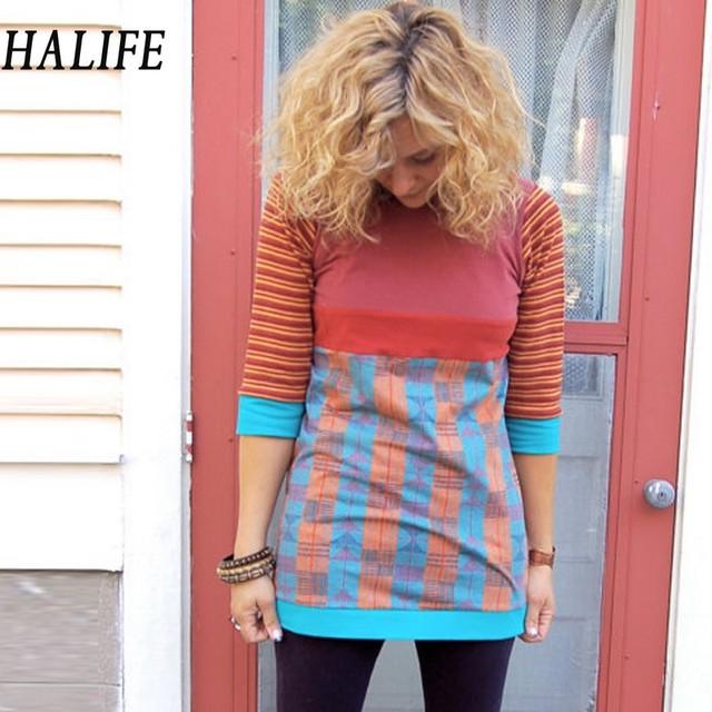 Tapas Túnica Larga Casual Para Mujeres O-cuello de la vendimia Impresión de la Manga 3/4 Multicolor Camiseta Femme Venta Camiseta Poleras de mujer 0110