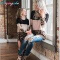 Одинаковые платья для мамы и дочки, Осенние комплекты с платьем для мамы и дочки большого размера, одежда с леопардовым принтом, кружевное платье для мамы и дочки - фото