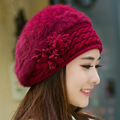 Elegant Flowers Women's Fur Hat Women's Warm Knitted Beanie New Year Woolen Cap Rabbit Hat Female Skullie Winter Hats for Girls