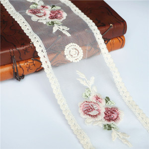 2 Yards 9CM Beige Embroidered Lace Trims Vintage Rose Flower Hollow Carved Mesh Trimmings Sew On Patch Wedding Appliques DIYi