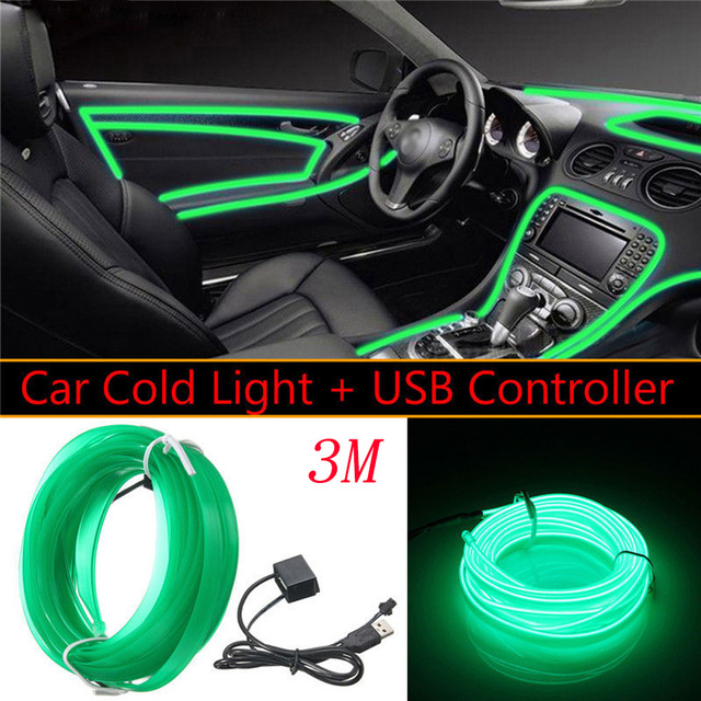 US $9 11 |5v Green Led Light Glow El Wire String Strip Rope Tube Car  Interior Decor Kit-in Shell from Automobiles & Motorcycles on  Aliexpress com |