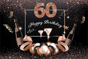 Image 4 - SXY1332 Photography backdrop Happy 60th Birthday background Black Gold Champagne Photo backdrop Party Banner 220cm x 150cm