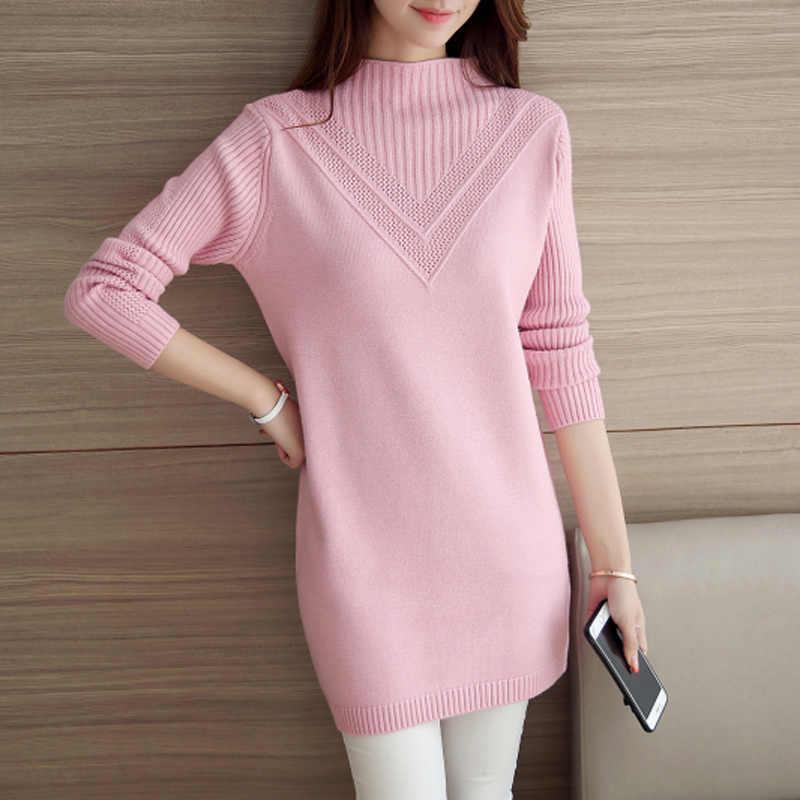 Весенние длинные теплые свитера 2019 осень зима новые вязаные пуловеры женские одноцветные тонкие пуловеры свитера женские свободные мягкие свитера