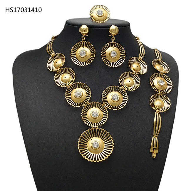 YULAILI Women Bridal Wedding Jewelry Sets High Quality Pure Gold Color Necklace Earrings Bracelet Ring for Party a suit of gorgeous rhinestoned flower necklace bracelet earrings and ring for women