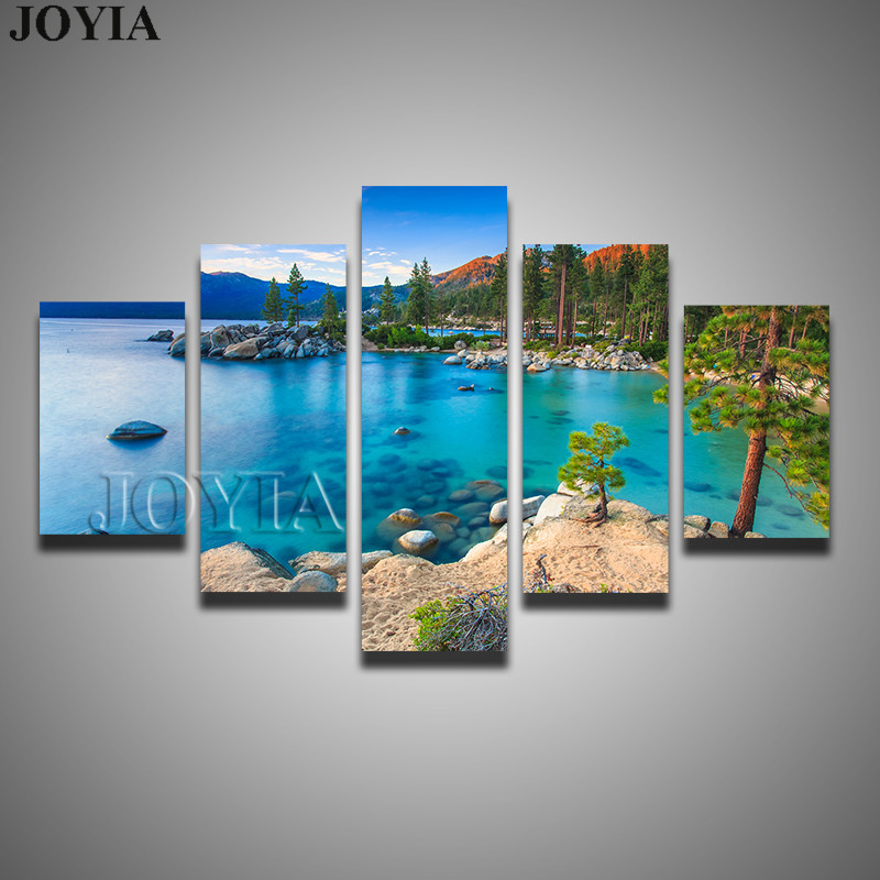 5 Piece Nature Paintings Lake Tahoe Sunset Sand Harbor