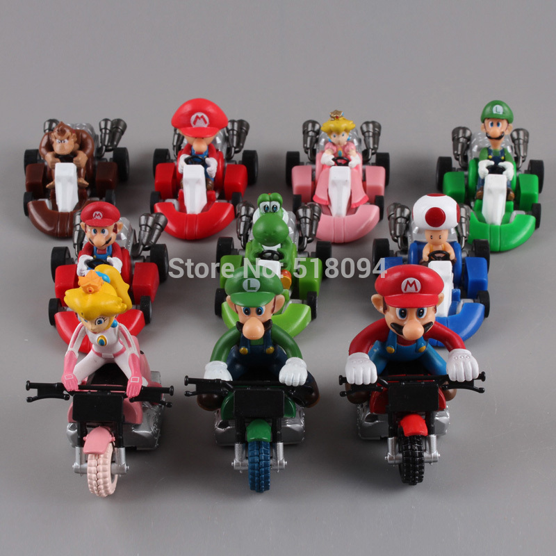 Cute Super Mario Bros Kart Pull Back Car PVC Action Figure Toys 2 10pcs/set Free Shipping SMFG040