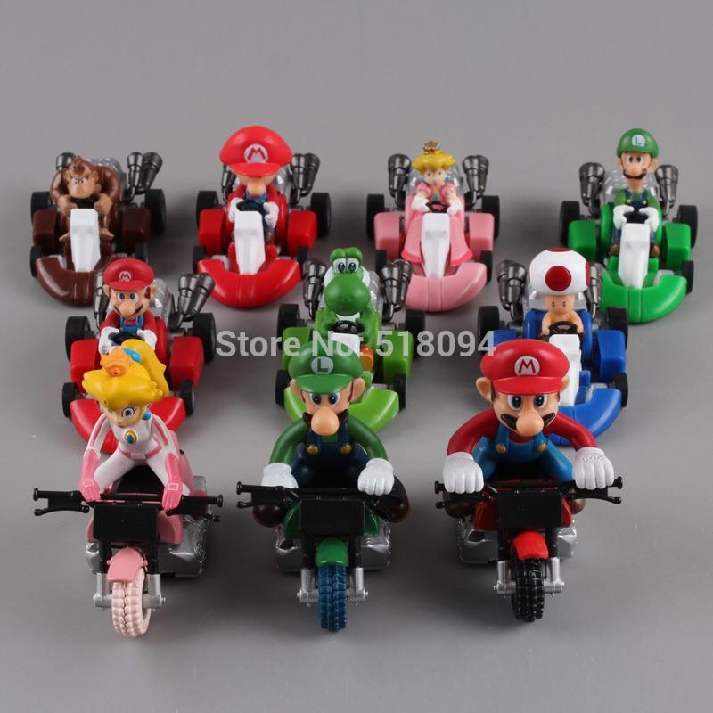 "Cute <font><b>Super</b></font> <font><b>Mario</b></font> <font><b>Bros</b></font> Kart Pull Back Car <font><b>PVC</b></font> <font><b>Action</b></font> <font><b>Figure</b></font> Toys 2"" 10pcs/set Free Shipping SMFG040"