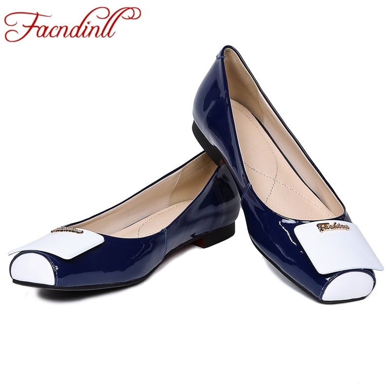 plus size 33-41 new spring genuien leather flats shoes for woman fashion style square toe black white casual women's flat shoes 2016 new women s fashion shoes spring summer style casual flats lace up pointed toe leather plus size 35 41 loafers for girls
