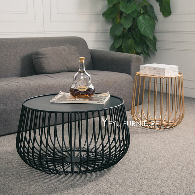 Minimalist Modern Design Pumpkin Black And Gold Metal Round Tea Table  Living Room Side Coffee Table
