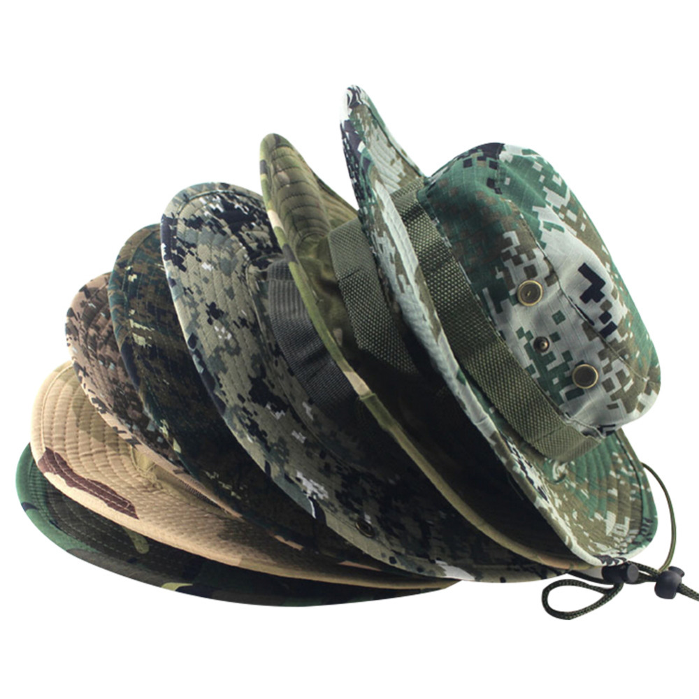 0cf12ed1e Fashion Military Camouflage Bucket Hats Jungle Camo Fisherman Hat with Wide  Brim Sun Fishing Bucket Hat Camping Caps cotton caps