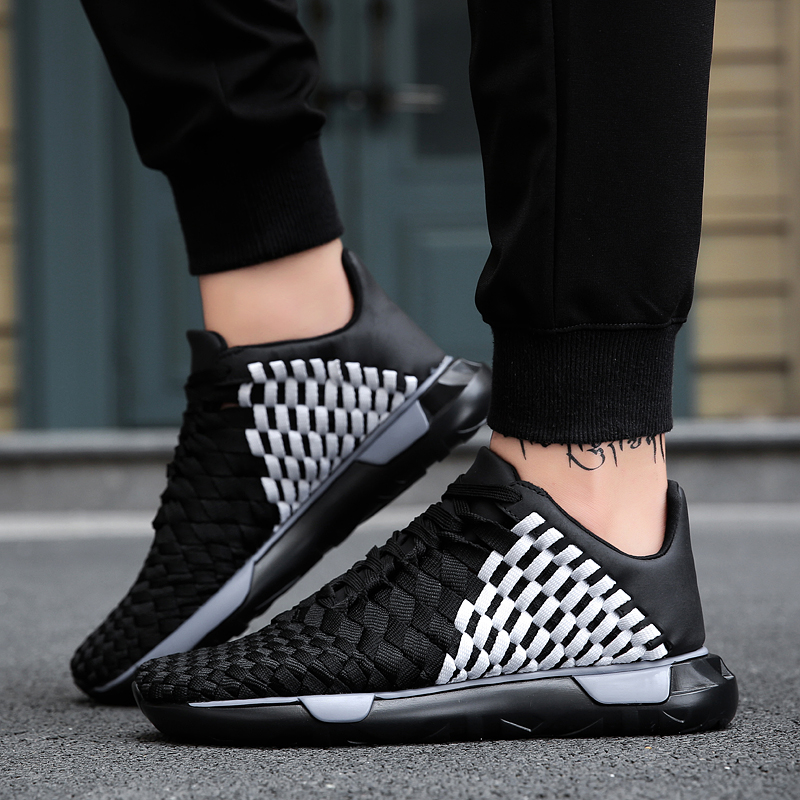 Spring canvas mens sports trend breathable mesh fly weaving tourism increased mens shoes