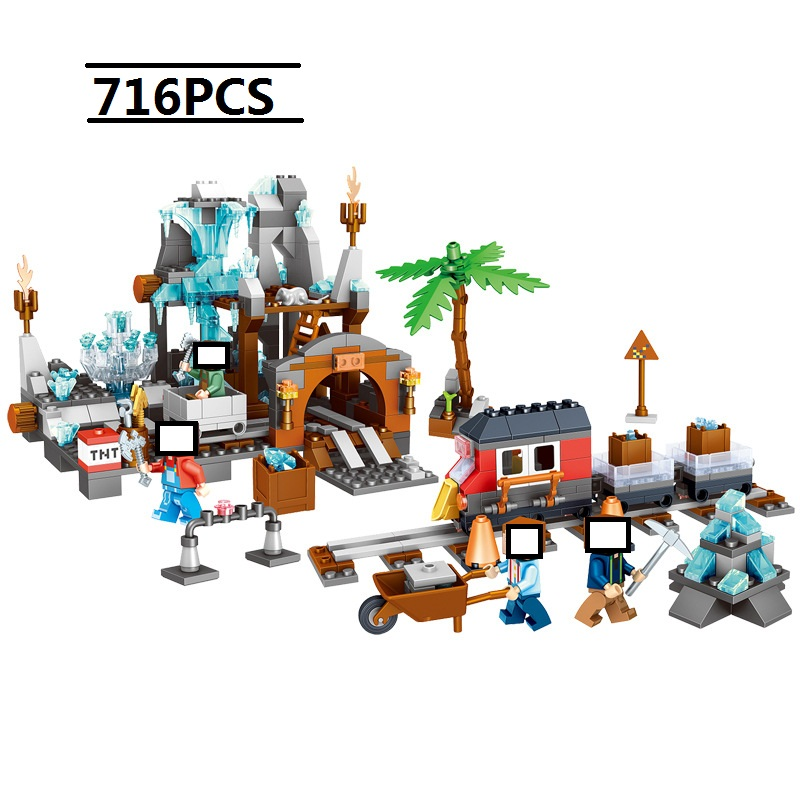 718 PCS Minecrafted MY village DIY MY WORLD God Antonia crystal mine Building blocks compatible with legoingly