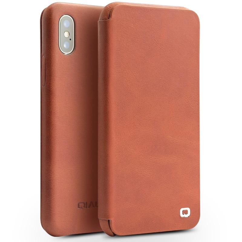 QIALINO Genuine Leather Phone Cover for iPhone X Luxury Ultra Thin Pure Handmade UNBreak Flip Case