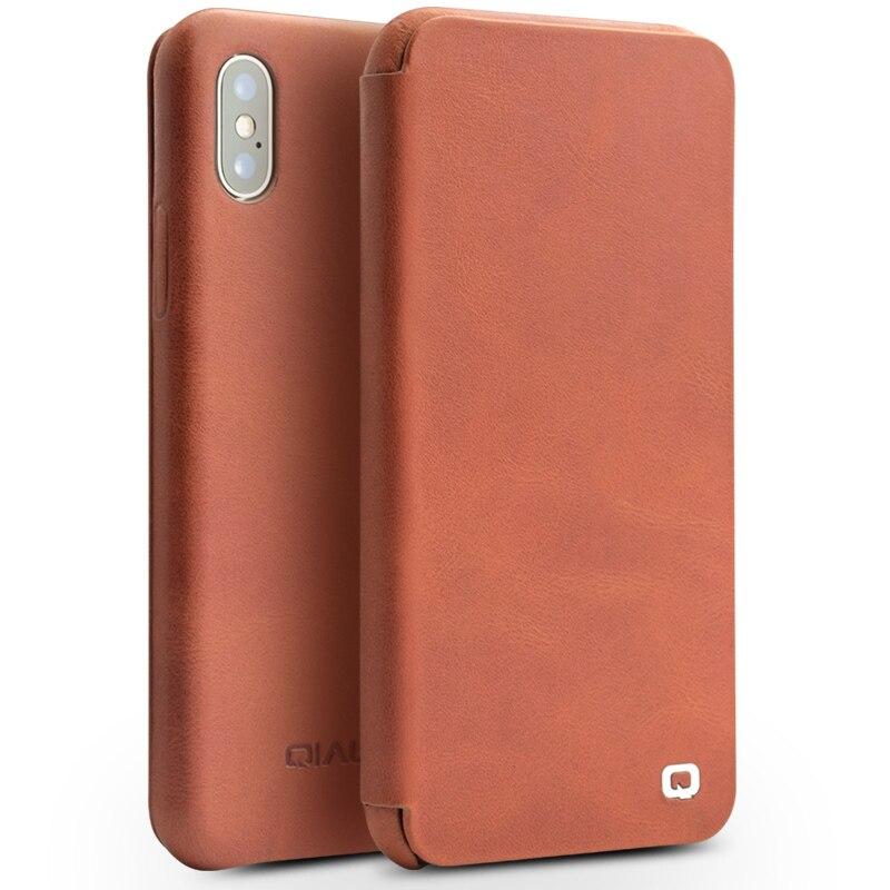 Qialino из натуральной кожи Телефон чехол для iPhone X Роскошные ультра тонкий ручной работы UNBreak флип чехол для iPhone X для 5,8 дюйм(ов)