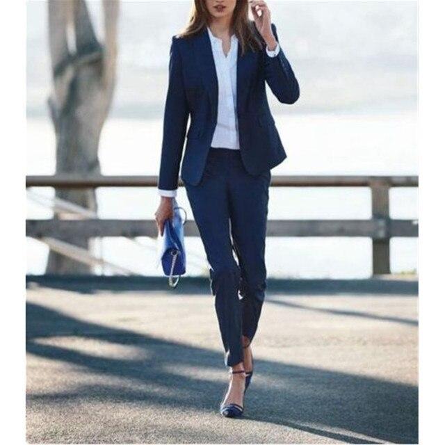 Marino Azul Pantalones Señoras De Oficina Mujer Traje Mujeres waqIngn
