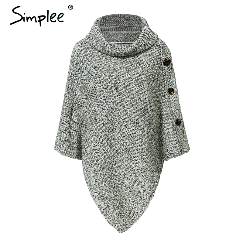 Turtleneck Knitted Casual Cloak Pullover 3