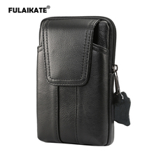 FULAIKATE 6.2 Genuine Leather Waist Bag for iPhone 8 Plus 7 Case Universal Pouch 6s Mens Business Pocket