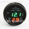 IZTOSS  B7006G  green +red disply  VST three in one car vehicle voltage meter thermometer USB mobile phone charger freeshipping
