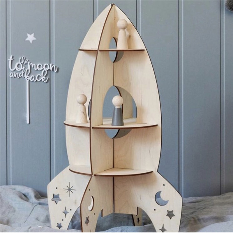 INS الشمال خشبية لعب 3D تجميعها اللبنات الصواريخ نموذج هدية الأطفال غرفة زينة الجرف الإكسسوارات المنزلية-في كتل متصلة من الألعاب والهوايات على  مجموعة 1