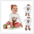 Kids clothing caribou cartoon girls half-sleeve t shirt +stripe pants kids pajama sets children clothes autumn winter hoodies