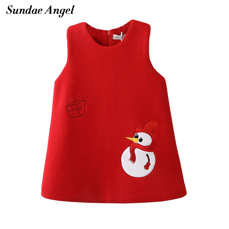 Sundae Angel Girls Dress Princess Costumes Sleeveless Thicken Embroidery Snowman Pattern Winter Girls Dresses Clothes For 2 7 Y