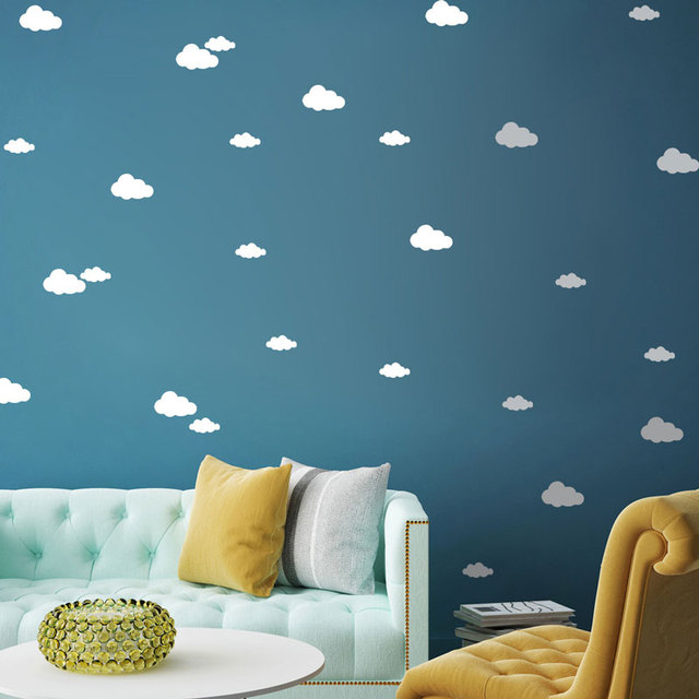 white black clouds wall decals vinilos infantiles wall stickers home