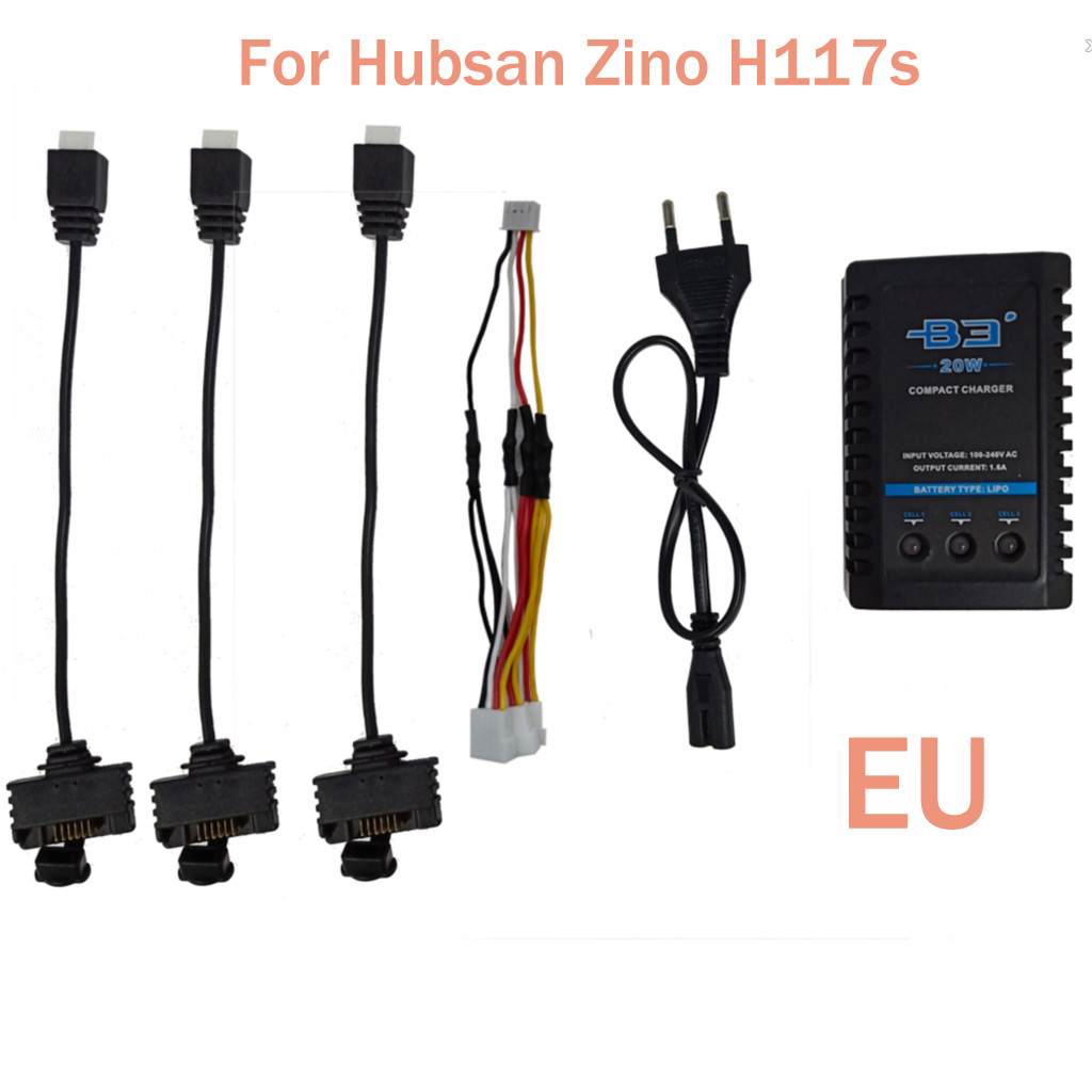 2019 Portable Suitable Charging Three Cable Adapter For Hubsan Zino H117S Quadcopter Battery B3 Charger convenient and practical-in Parts & Accessories from Toys & Hobbies