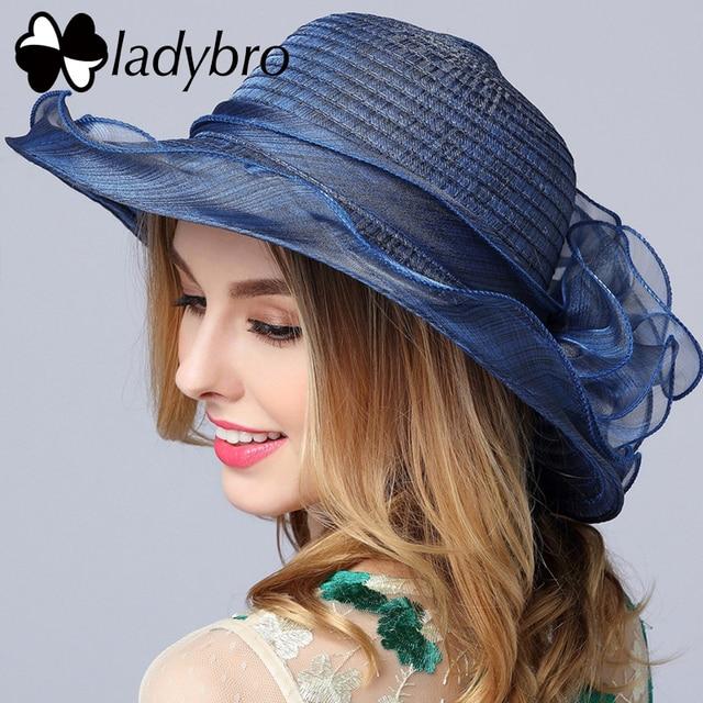 Ladybro Summer Ladies Hat Leisure Beach Women Sun Hat Elegant Cute Wide  Brim Hat Silk Flower Bucket Hat Casual Cap Female Fedora ecc66011396